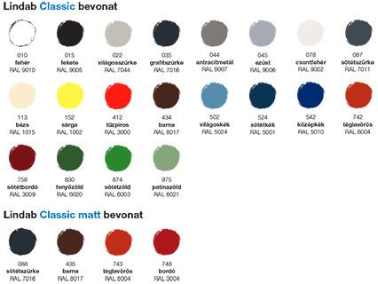 Lindab Coverline burkolati rendszerek színminta